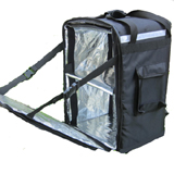 PK-86Z: Heated pizza delivery bags with side loading, food takeaway backpacks with tray, 16